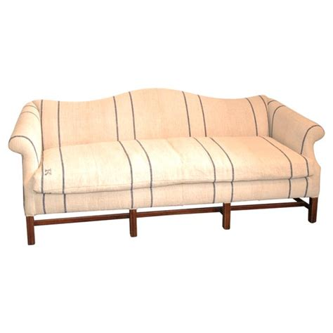 queen anne sofa and loveseat 1930 39 s queen anne style camel back sofa in 19thc linen at