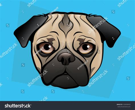 Pug Dog Face On A Blue Background Stock Vector 103958459