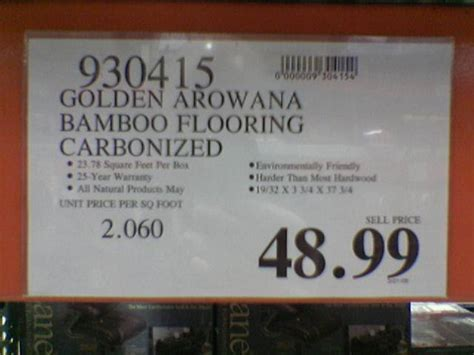 The sign at Costco for Golden Arowana Bamboo Flooring