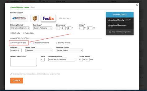 ordoro fedex error  customs   required