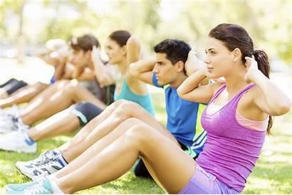 Doing Wellness Sit Ups Park Healthy Lifestyle