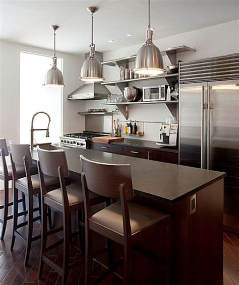 Dark Brown Wood Bar Stools   Contemporary   kitchen   The