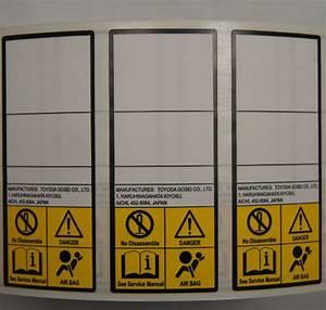 Caution Label Airbag Danger Label Toyota New Oem