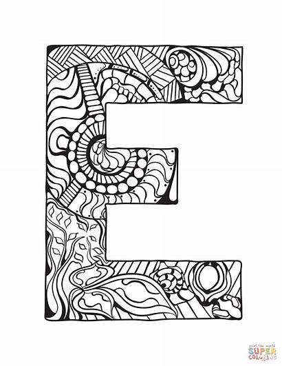 Letter Coloring Pages Alphabet Printable Zentangle Colouring