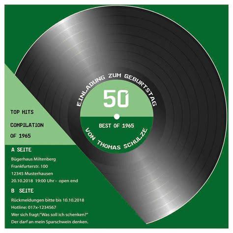 geburtstag einladung als cd cover schallplatte