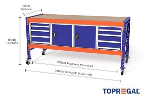 arbeitstisch mit rollen mfw1000 fahrbar 2 3m breite mit
