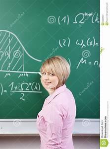 Student Or Teacher Writing On The Blackboard Stock Image