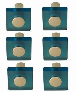Bouton De Meuble Design : lot de 6 boutons de porte et tiroir de meuble design en acrylique translucide bleu square ~ Teatrodelosmanantiales.com Idées de Décoration