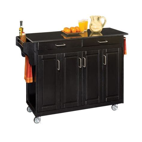 49 inch granite top kitchen cart in black 9200 1044