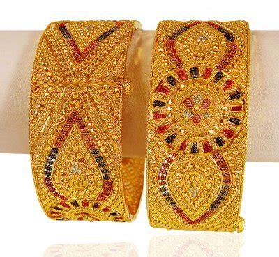 22k three tone kada pair baka20958 22k gold designer kadas are excellently handcrafted