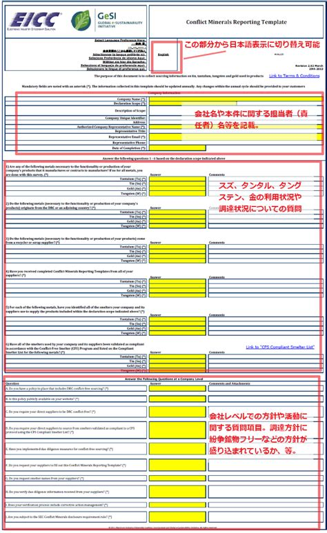 conflict minerals reporting template 紛争鉱物に関する調査対応の方法 コンフリクトミネラルの調査