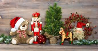 nostalgic decoration with antique toys teddy and nutcracker retro style picture
