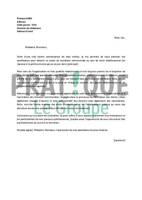 modele lettre de motivation emploi secretaire document