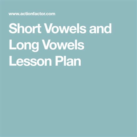 short vowels  long vowels lesson plan  images