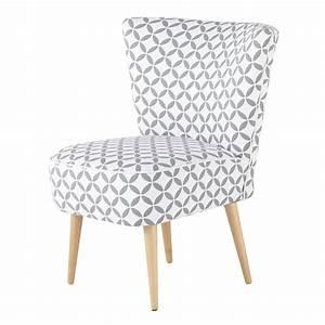Fauteuil Scandinave Blanc : fauteuil vintage motifs en coton gris et blanc scandinave maisons du monde ~ Teatrodelosmanantiales.com Idées de Décoration