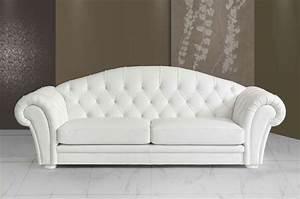 Canapé Cuir Blanc 2 Places : canape 3 places cuir blanc sofamobili ~ Teatrodelosmanantiales.com Idées de Décoration