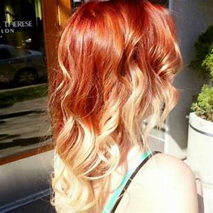 Bright coppery red melted into platinum Ombre. Hair by ...