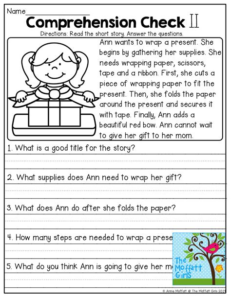 comprehension checks and tons of other great printables