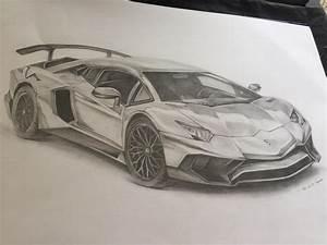 Pencil drawing of a lamborghini aventador [OC] : sketches
