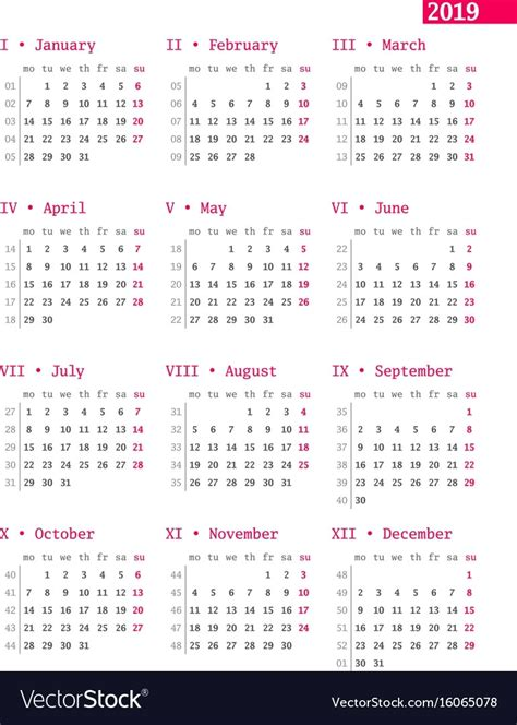 calendar week ten printable calendar