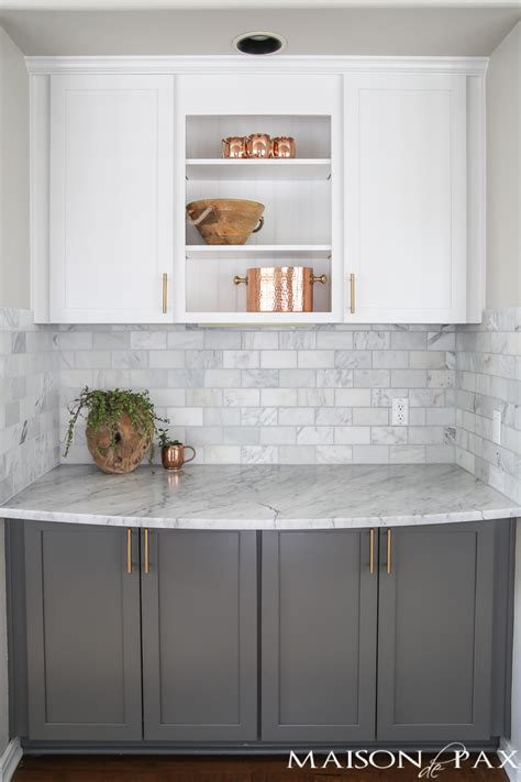 gray backsplash white cabinets gray and white and marble kitchen reveal maison de pax