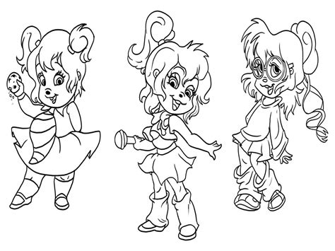 Alvin And The Chipmunk Coloring Pages Free Printable Chipettes Coloring Pages For