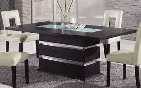 Brown Contemporary Pedestal Dining Table With Glass Inlay Naperville Dining Room Modern Dining Table And Chairs Renovation Modern Dining Contemporary Dining Chairs Designs Ideas InOutInterior Kitchen Table Decor Tips Photograph Kitchen Tables And