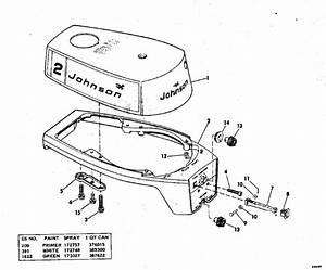 Johnson Motor Cover Parts For 1976 2hp 2r76s Outboard Motor