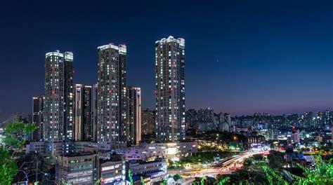 korea seoul light night night view cbd city fintech hong kong