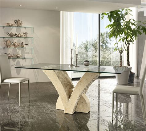 tavoli di cristallo sala da pranzo tavolo papillon in pietra top 200 cm duzzle