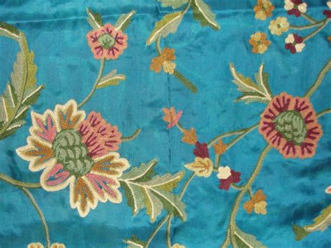 Crewel Upholstery Fabric by Crewel Fabric Shalimar Robin Egg Blue Silk Organza