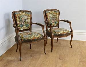 Floral Chairs Pair French Tapestry Beech Salon Chairs C