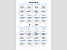 Calendrier 2019 2020 à imprimer gratuit en PDF et Excel