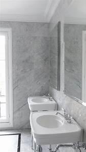 Salle De Bain Marbre Blanc : salle de bains marbre blanc de carrare devon devon rose console robinetterie dandy chrom ~ Nature-et-papiers.com Idées de Décoration