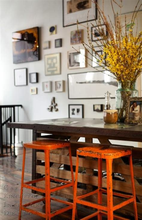 kitchen island  industrial stools painted orange