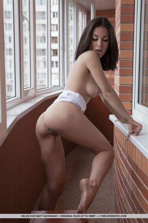 Hot Brunette Teen Helen H Strips Naked And Fondles Her Wet