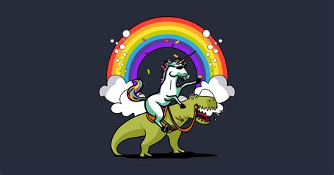 unicorn riding  rex party dinosaur colorful rainbow