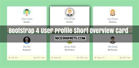 bootstrap  user profile short overview card design