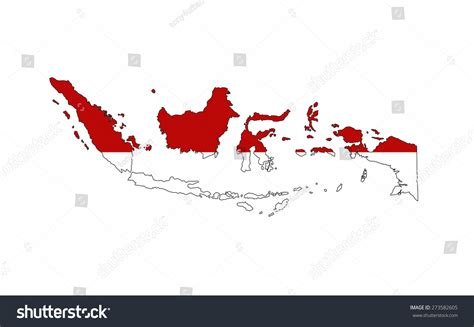 indonesia country flag map shape national stock