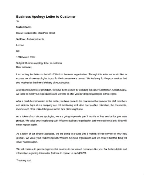 sample business apology letter  documents   word