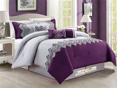 light purple and grey bedroom 7 p zigzag chevron curved embroidery comforter set purple 19056 | s l1000