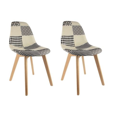 lot chaise pas cher lot de 2 chaises pas cher au design scandinave patchwork