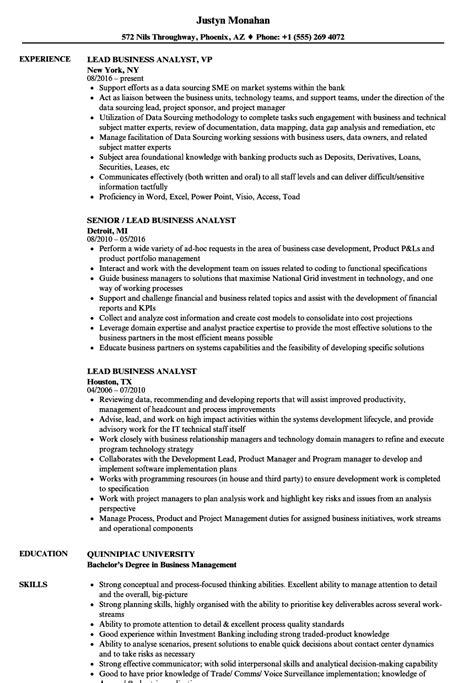 lead business analyst resume samples velvet jobs