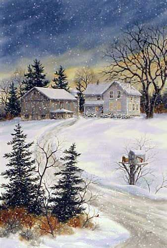 Watercolor Paintings Winter Farm