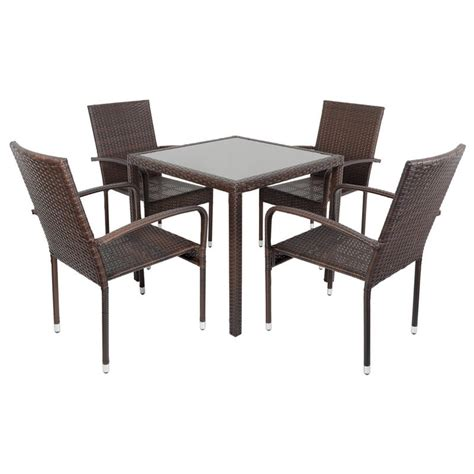 brown modena rattan wicker dining table with 4 chairs