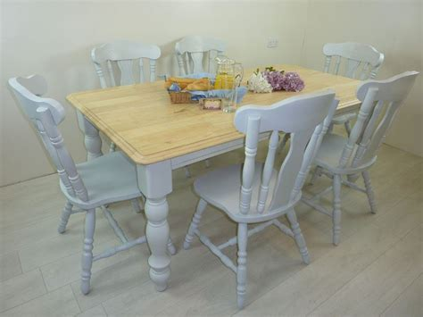 6ft solid wood farmhouse table and 6 chairs painted
