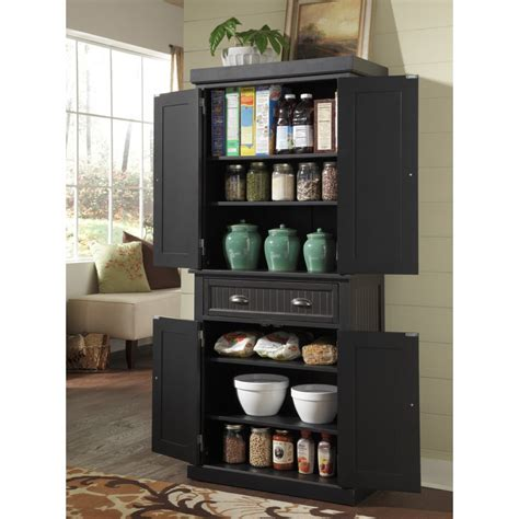 kitchen food cabinet nantucket pantry black distressed finish homestyles 1737