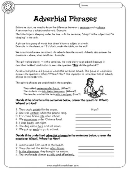 adverb phrases worksheet adverbial phrases adverbs adverbial phrases grammar worksheets worksheets