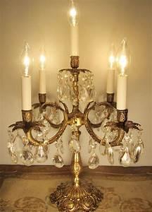 Candelabra Solar Lights Vintage Candelabra Table Lamp Solid Brass Crystals 5