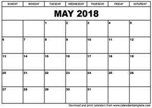 May 2018 Calendar Printable Template
